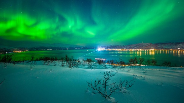 The Aurora Borealis over Tromso, Northern Norway.
