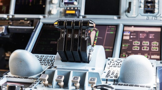 The dashboard and centre console of the Airbus A380-800.