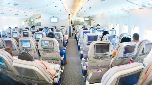 Economy class in an Emirates Airbus A380.