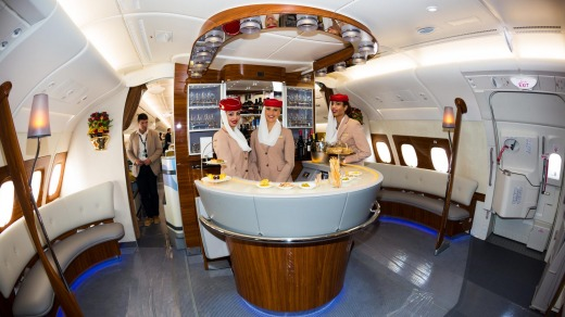 The bar on board an Emirates A380, for business and first class passengers.