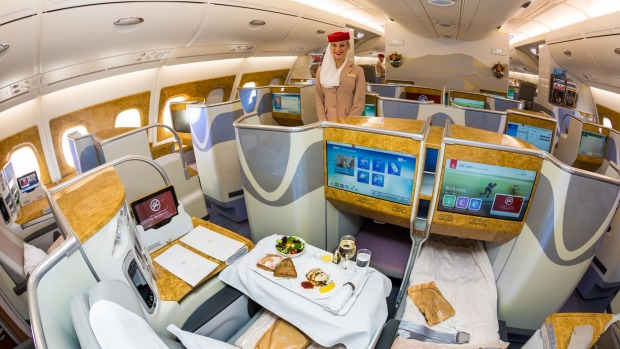 No.9 - Emirates. Pictured: Business class on board the A380 superjumbo.