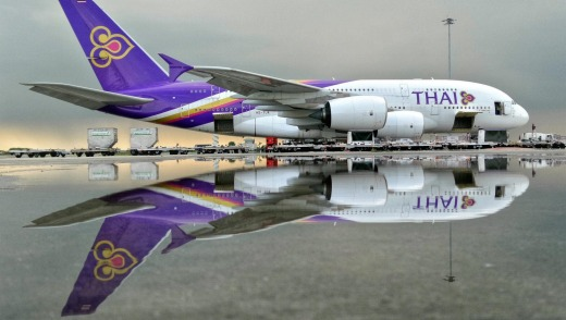 Thai Airways Airbus A380 at Suvanabhumi Airport after heavy rain.