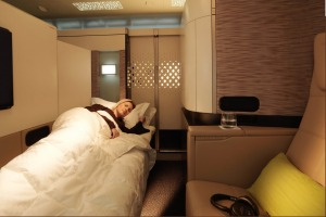 The bedroom, on 'The Residence by Etihad', a new First Class service offered by Etihad Airways.