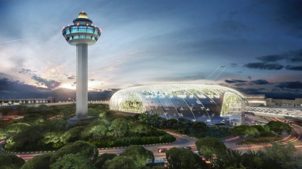 Artist's impress of Changi Airport's new development, The Jewel: Jewel Changi Airport is envisaged to be a must-visit ...