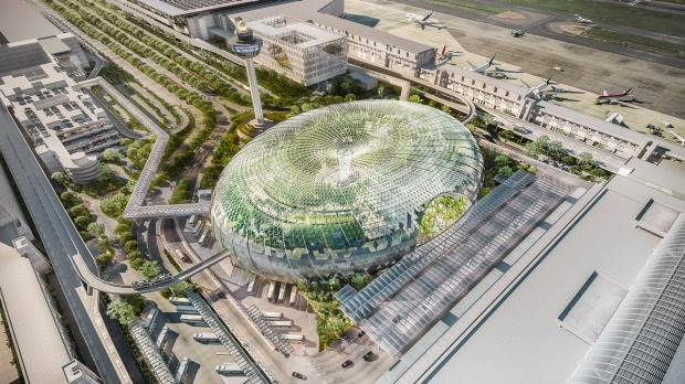 Artist's impress of Changi Airport's new development, The Jewel: Jewel Changi Airport is an iconic mixed-use complex ...