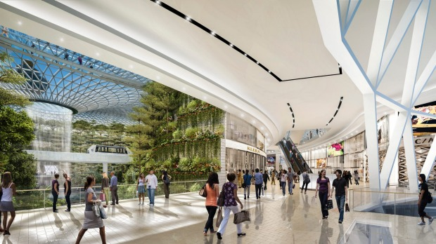 Artist's impress of Changi Airport's new development, The Jewel: Seamlessly connected to Terminals 1, 2 and 3, Jewel ...