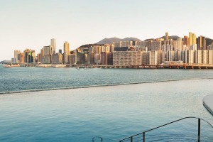 A morning swim  harbourside is a great way to start the day at Kerry Hotel Hong Kong.