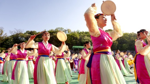 Performance at a Buddhist Cheer Rally for celebration of the Lotus Lantern Festival in  Seoul, Korea.