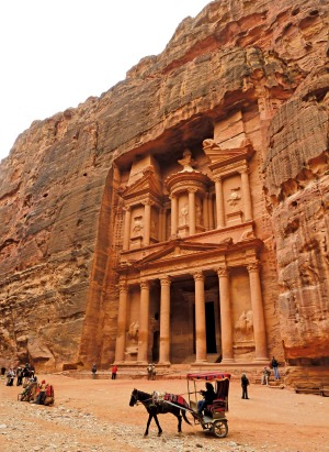 The size of the Treasury at Petra is impressive but it is the detail of the carving that overwhelms.