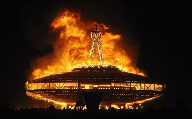 "The ""Man"" burns on the Black Rock Desert at Burning Man."