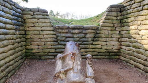 The trenches and canon on battlefield of Vimy ridge, France.