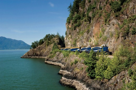 The Rocky Mountaineer train travels through the Rocky Mountains, Canada.