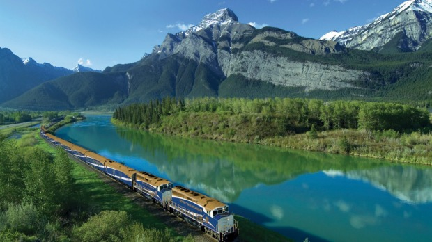 The Rocky Mountaineer train near Exshaw in Kananaskis Country, Alberta, Canada.