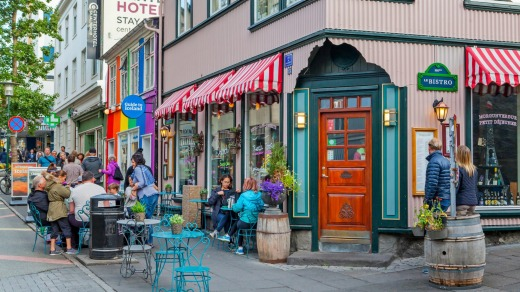 Cafe in the Laugavegur shopping district in Reykjavik, Iceland.