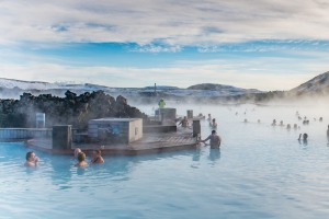 The Blue Lagoon, one of Iceland's famous  geothermally heated pools.