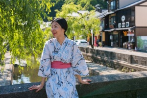 A woman in Yukata, Japanese traditional clothes.
