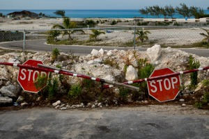 Trash, discarded materials and remnants of the failed Fyre Festival remain on the festival site in Exuma, Bahamas.