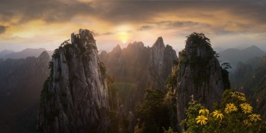 A pano image of Huangshan's peaks during sunrise.