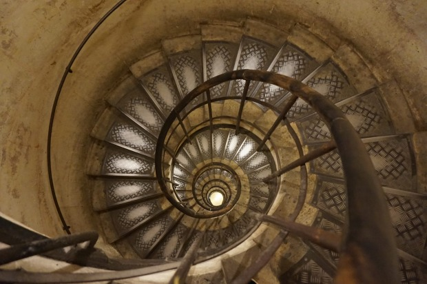 From the top of the Arc de Triomphe staircase looking down.  For me it wasn't so much the snail shell pattern as the ...