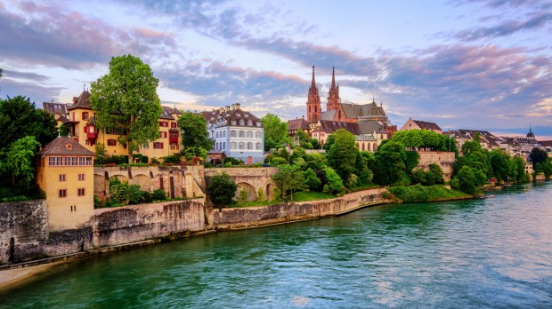 The Rhine river threads its way through Basel, in Switzerland's north-west.