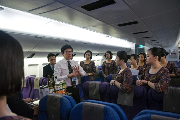 Inside Singapore Airlines flight school.
