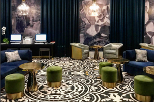 The bar and lounge area at Hotel Indigo, Los Angeles.
