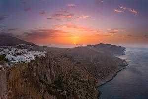 View of Hora, a small village in Folegandros, at sunset.