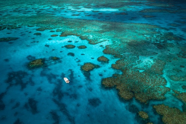 Waiting for the clouds to clear in-between dives on Rib Reef, an azure oasis off Orpheus Island in North Queensland. ...