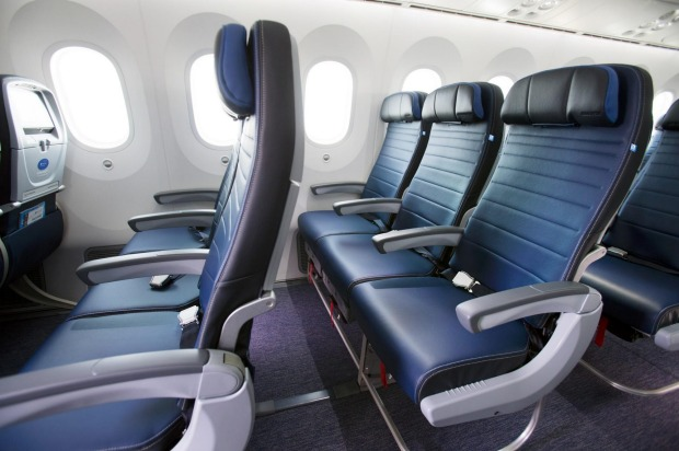 United Airlines' Dreamliner 787-9 Economy Plus cabin.