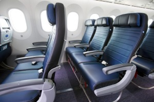 United Airlines Dreamliner 787-9 Economy Plus cabin.