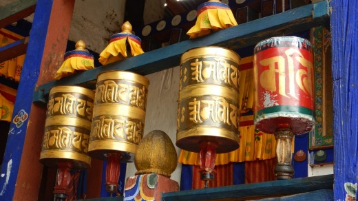 Spinning a prayer wheel helps accumulate wisdom and good karma in Bhutan.