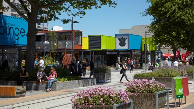 The Re:Start container mall, Cashel Street in Christchurch, New Zealand.