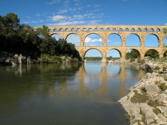 The impressive Pont du Gard in southern France. It's 275 metres in length. Amazing to walk across an aqueduct dating ...