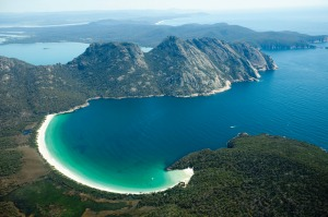 Wineglass Bay and The Hazards: Mt Mayson, Mt Amos and Mt Dove.