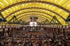 People celebrate at the opening day of the 184th Oktoberfest beer festival in Munich, Germany.