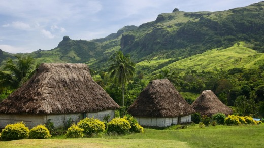Traditional houses of Navala village, Viti Levu, Fiji.
