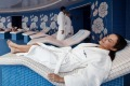 Relaxing in the Persian Garden wellness area of a Celebrity ship 2.