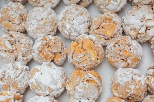 Rothenburg schneeballen (snowball) pastry – a deep-fried confection of shortcrust pastry and plum schnapps.