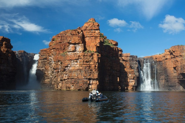 The Kimberley Coastline also offers plenty of vertical waterfalls.