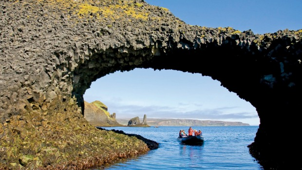 A natural arch on the Langanes Peninsula, Iceland.