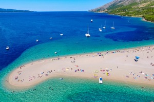 Zlatni Rat Beach in Bol, Croatia.