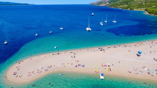 Aerial view of Zlatni Rat beach in Bol, Island Brac, Croatia.