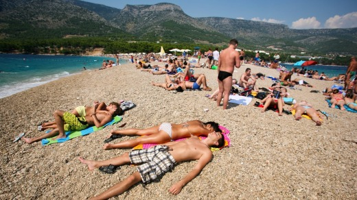 Zlatni Rat beach in Bol, Croatia. Bol is one of the busiest tourist destinations on the Adriatic Islands.