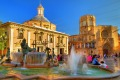 The Square of Saint Mary and Rio Turia fountain in Valencia.
