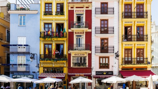 Colourful houses in the old town of Valencia.