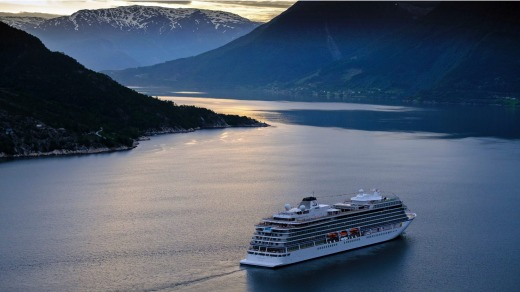 Viking Sky in Norwegian fjords.