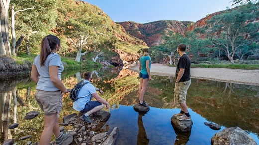 The waterhole at Ormiston Gorge and Pound in Tjoritja West MacDonnell National Park.