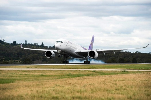 Thai Airways Airbus A350 arrives in Melbourne.