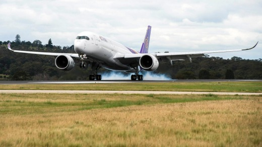 The Thai Airways Airbus A350 arrives in Melbourne for the first time.