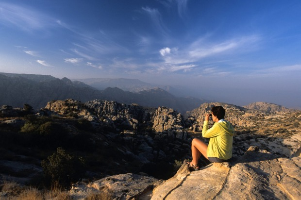 Looking out over the Dana Nature Reserve, Jordan.